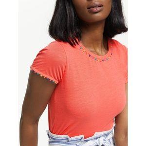 Boden Charlie Pom Pom Cotton Jersey T-Shirt xsmall